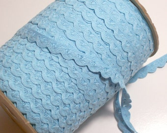Blue Ribbon, Vintage Baby Blue Scalloped Sewing Trim 1/2 inch wide x 3 yards