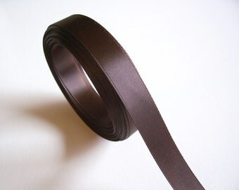 Brown Ribbon, Single-Faced Brown Satin Ribbon 5/8 inch wide x  5 yards, SECOND QUALITY FLAWED