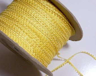 Yellow Ribbon, Vintage double-faced lemon yellow picot edge ribbon 1/4 inch x 10 yards SECOND QUALITY FLAWED