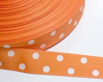 Orange and White Polka Dot Grosgrain Ribbon 1 inch wide x 27 yards, Orange Ribbon, SECOND QUALITY FLAWED