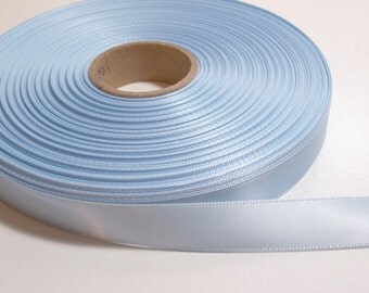 Blue Ribbon, Ice Blue Double-Faced Satin Ribbon 5/8 inch wide x 9 yards, SECOND QUALITY FLAWED