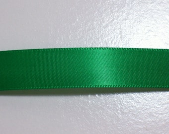 Green Ribbon, Kelly Green Double-Faced Satin Ribbon 5/8 inch wide x 6 yards, 50% Off Sale