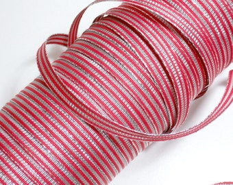 Red Ribbon, Double-Sided Silver and Red Metallic Ribbon 3/8 inch wide x 4 yards, Christmas Ribbon