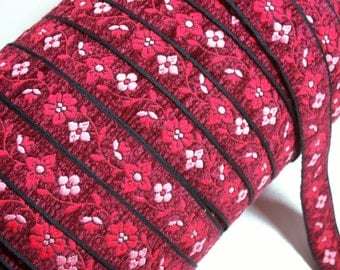 Red Ribbon, Vintage Red Flower Chenille Sewing Trim 1 inch wide x 3 yards