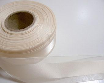 Ivory Ribbon, Antique Ivory Satin Stripe Organza Ribbon 1 1/2 inches wide x 3 yards, Offray Garbo Ribbon
