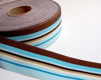 Striped Ribbon, Blue and Brown Stripe Grosgrain Ribbon 1 1/2 inches wide x 8 yards, Offray Westbrook Stripe