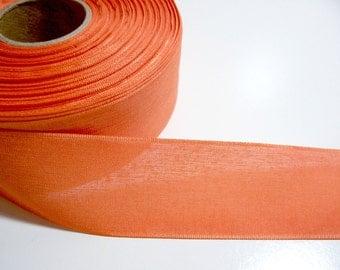 Orange Ribbon, Orange Woven Polyester Ribbon 1 1/2 inches wide x 10 yards, Offray San Marino Sunrise Ribbon