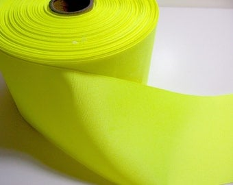 Wide Yellow Ribbon, Fluorescent Yellow Grosgrain Ribbon 4 inches wide x 2 yards SECOND QUALITY FLAWED