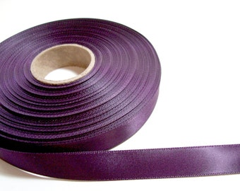 Double-Sided Eggplant Satin Ribbon 5/8 inch wide x 50 yards, Offray Ribbon