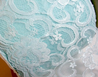 Wide Blue Lace, Robin's Egg Blue Lace 7 inches wide x 1 yard