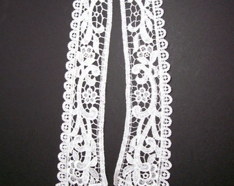 Lace Collar, White Venice Lace Applique Collar, Set of 2 Pieces