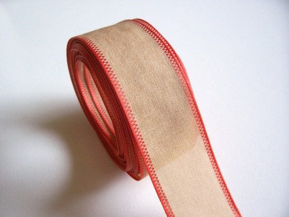 RESERVED FOR EMJGONZALES Orange Edged Beige Polyester Ribbon 1 1/2 inches wide