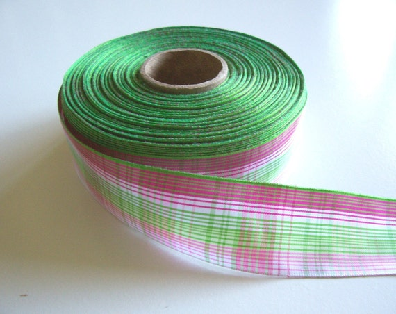 Pink and Green Plaid Polyester Ribbon 1 1/2 inches wide x 2 yards precut