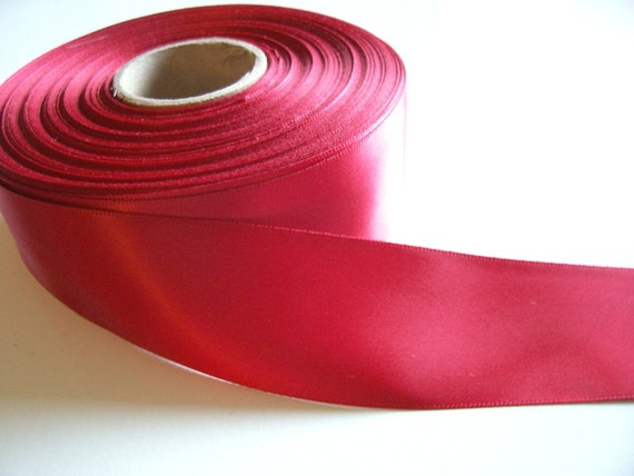 Ruby Red Double-Faced Satin Ribbon 1 1/2 inches wide x 50 yards, Full Bolt Offray Scarlet Ribbon