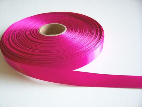 Pink Ribbon, Single-Faced Dark Hot Pink Satin Ribbon 5/8 inch wide x 10 yards precut