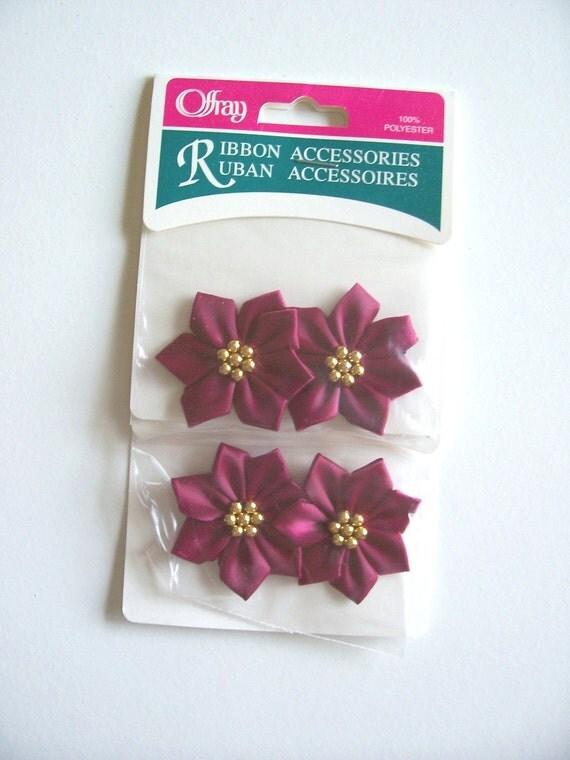 Burgundy Satin Poinsettia Flower Appliques x 4 pieces