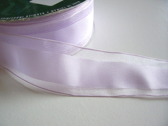 Pale Lavender Stripe Organza Wired Ribbon 1 1/2 inches wide x 5 yards