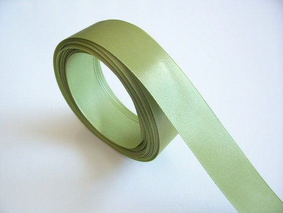 Green Ribbon, Single-Faced Sage Green Satin Ribbon 7/8 inch wide x 42 yards , SECOND QUALITY FLAWED, 50% Off Sale