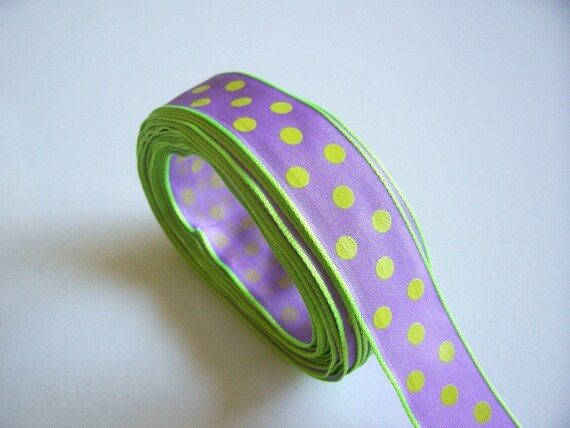 Offray Gum Drops Lilac Lime Edged Polka Dot Ribbon 3/4 inch wide x 19 yards SECOND QUALITY FLAWED, Purple Ribbon