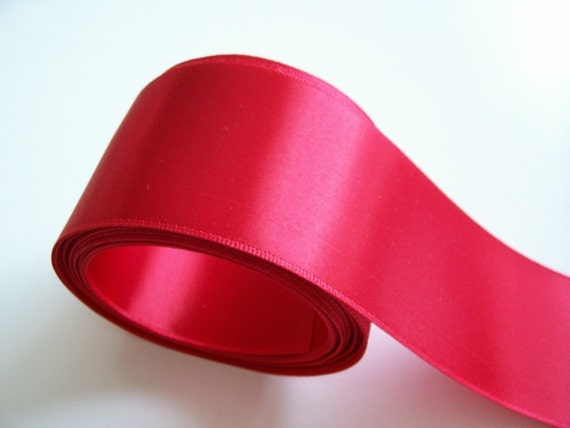 Red Ribbon, Offray Red Double-Faced Satin Ribbon 2 1/4 inch wide x 5 yards, Wide Red Ribbon