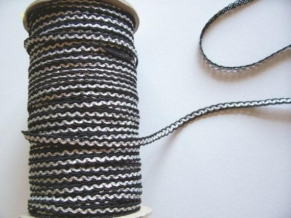 Vintage Trim, Black and Silver Braided Trim 1/4 inch x 3 yards, Vintage Braided Trim