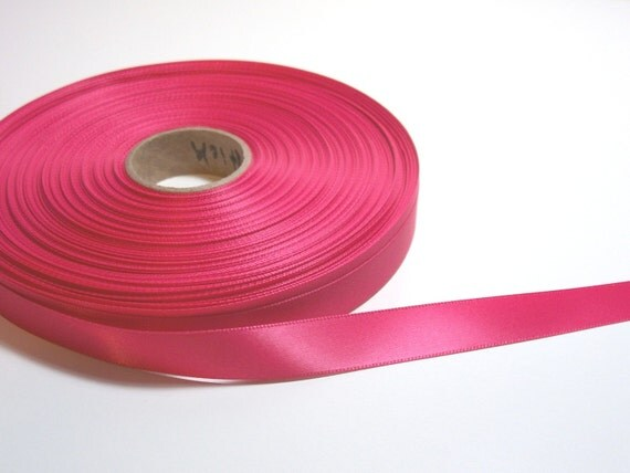 Single-sided pink lipstick satin ribbon 5/8 inch x 50 yards