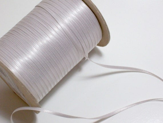 Double-faced light silver satin ribbon 1/8 inch x 10 yards SECOND QUALITY FLAWED
