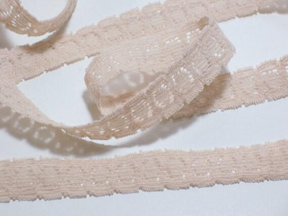 Vintage Beige Lace Elastic Sewing Trim 1/2 inch wide x 5 yards