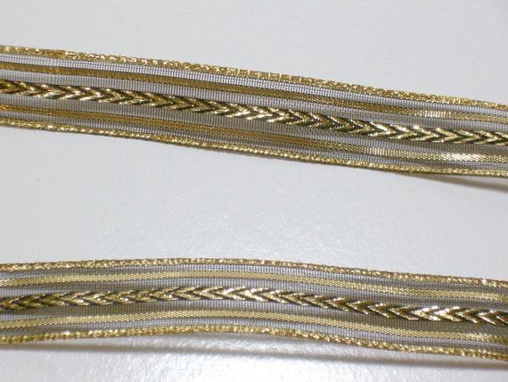 Black and Metallic Gold Serpentine Organza Ribbon 5/8 inch wide x 3 yards