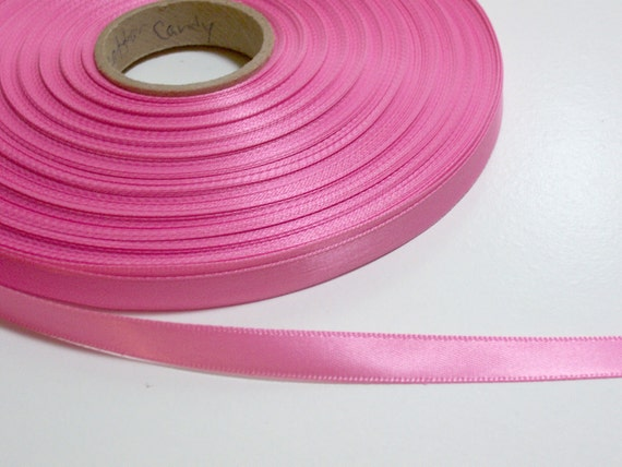 Double-Sided Cotton Candy Pink Satin Ribbon 3/8 inch wide x 4 yards SECOND QUALITY FLAWED