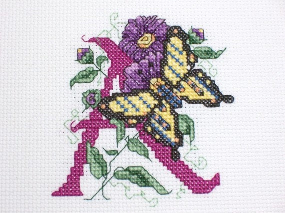 Completed Cross Stitch:  Handmade letter A cross stitch picture ready to be framed
