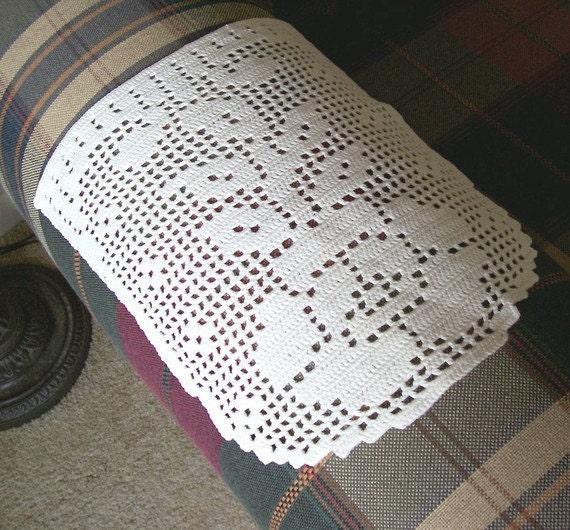 Armrest Covers Vintage Filet Crochet Armrest Covers Rose