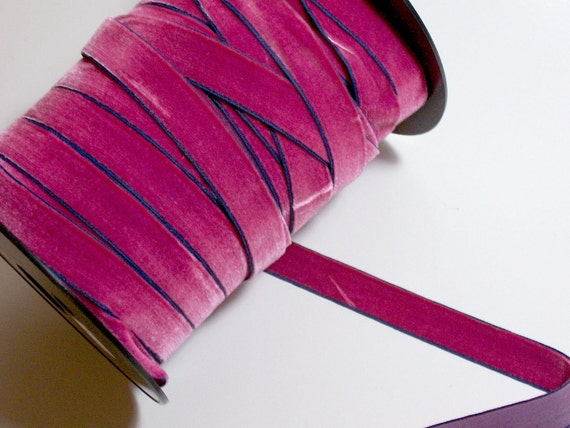 Pink with Blue Edge Velvet Ribbon 3/4 inch wide x 4 yards precut Made in Switzerland CLEARANCE
