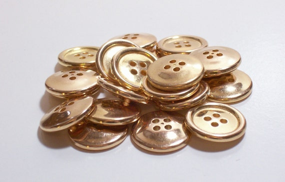 Goldtone Metal Buttons x 20 pieces 3/4 inch diameter