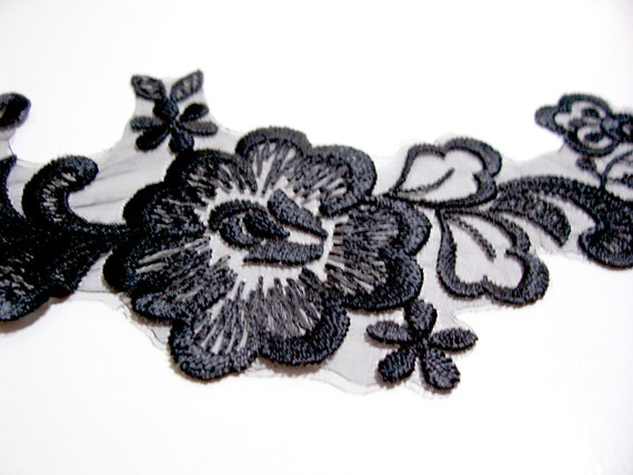 Black Voile Venice Lace Applique Flower Design