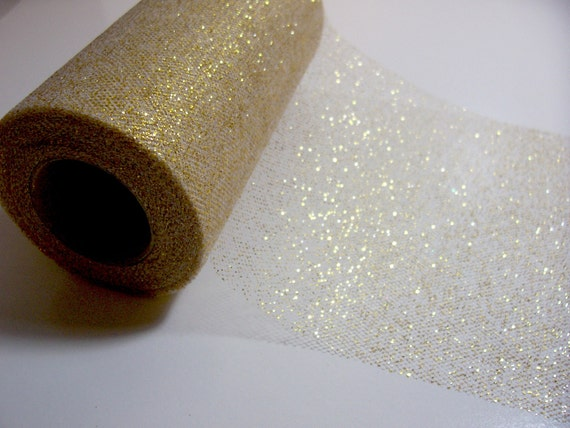 RESERVED FOR INDHUREDDY Gold Glitter Tulle Ribbon 5 3/4 inches wide