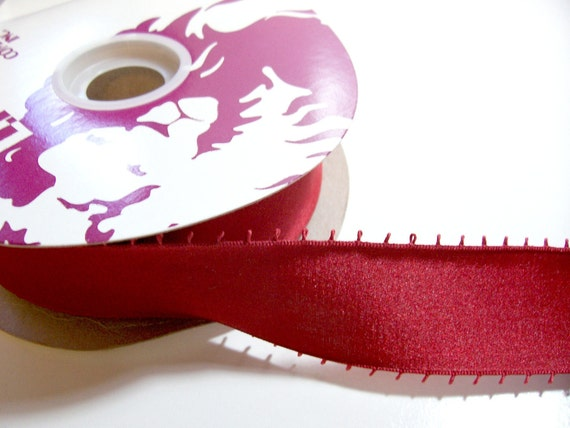 RESERVED FOR URSAMOM Double-Sided Ruby Satin Picot Ribbon 1 1/2 inches wide