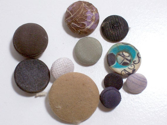 Vintage Fabric Covered Buttons Set of 10