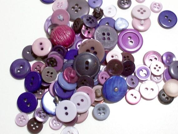 Vintage Purple Buttons x 100 pieces