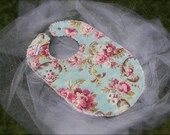 Boutique Baby Girl Tickled Pink Spa Blue Chenille Bib