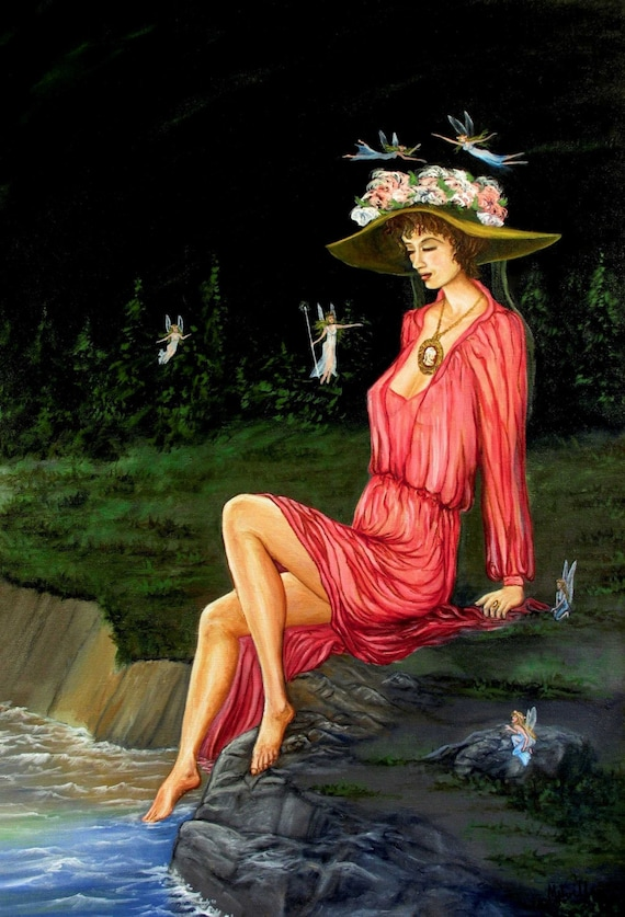 Girl by the River with Fairies