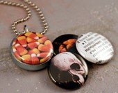 Halloween Locket Necklace - SALE - Magnetic 4 Interchangeable Lids Including Pumpkin, Skull, Candy Corn and Definition