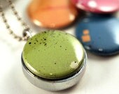 Neon Silver Locket - Mini Magnetic Necklace, Green Blue Orange Pink Interchangeable Lids, Recycled Steel by Polarity