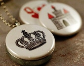 Queen Jewelry, Queen Necklace Locket, Crown Necklace, Queen of Hearts, Castle Locket, Gift for Queen BEE, Magnetic, 3 in 1, Recycled Steel
