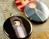 Art Locket - Big Eyed Girls Necklace, Quirky Girl Gift, Art by SleepAndHerSisters, Recycled and Magnetic Metalwork By Polarity