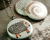 Sheep Locket Necklace - Farm Locket Rural Rustic GOLLYBARD - Magnetic Necklace - Recycled Magnetic LOCKET SET By Polarity