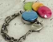 Silver Bracelet - Magnetic Bracelet - Neon - Recycled - Steel - Custom Bracelet - Pink, Green, Blue, Orange - Polarity