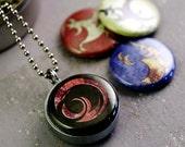 Alien Artifact Locket - Guy Necklace, UFO, Magnetic Locket Necklace, Hieroglyphics, Polarity - 4 in 1