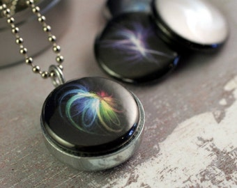 Fractal Art Locket Necklace - Mini Recycled Magnetic Locket By Diaspora and Polarity
