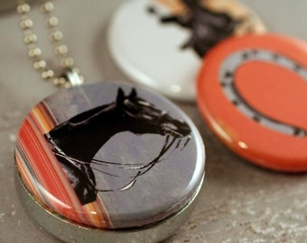Horse Locket Necklace, Horse Jewelry, Equestrian Gift, Horseshoe Necklace, Eco Friendly - Polarity Magnetic and Recycled Locket Set